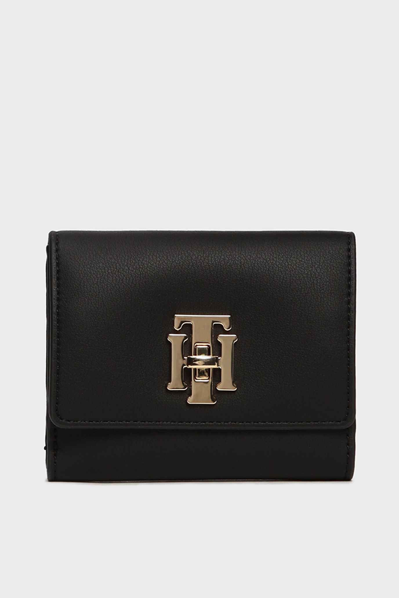 Женский черный кошелек TH LOCK MED FLAP Tommy Hilfiger