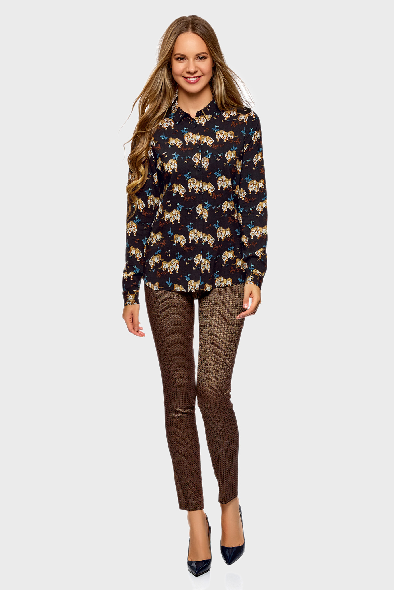 Купить Женская черная блуза с узором Oodji Oodji 11411087-1/24681/2935A – Киев, Украина. Цены в интернет магазине MD Fashion