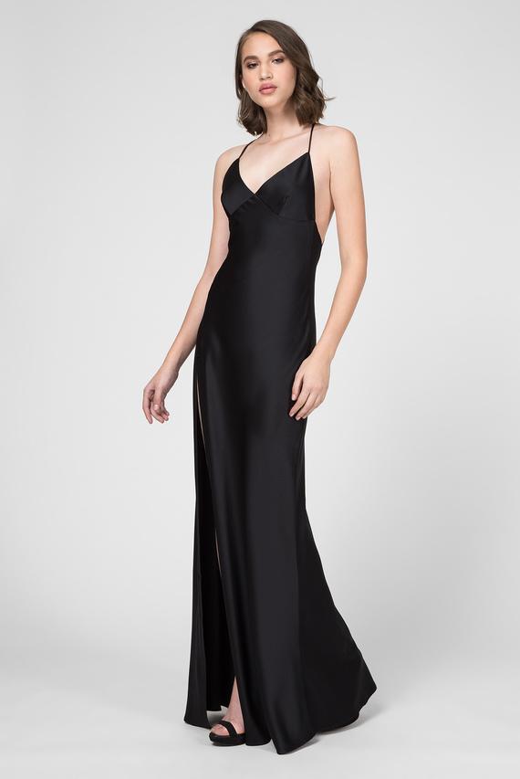 Женское черное платье-комбинация ALMA