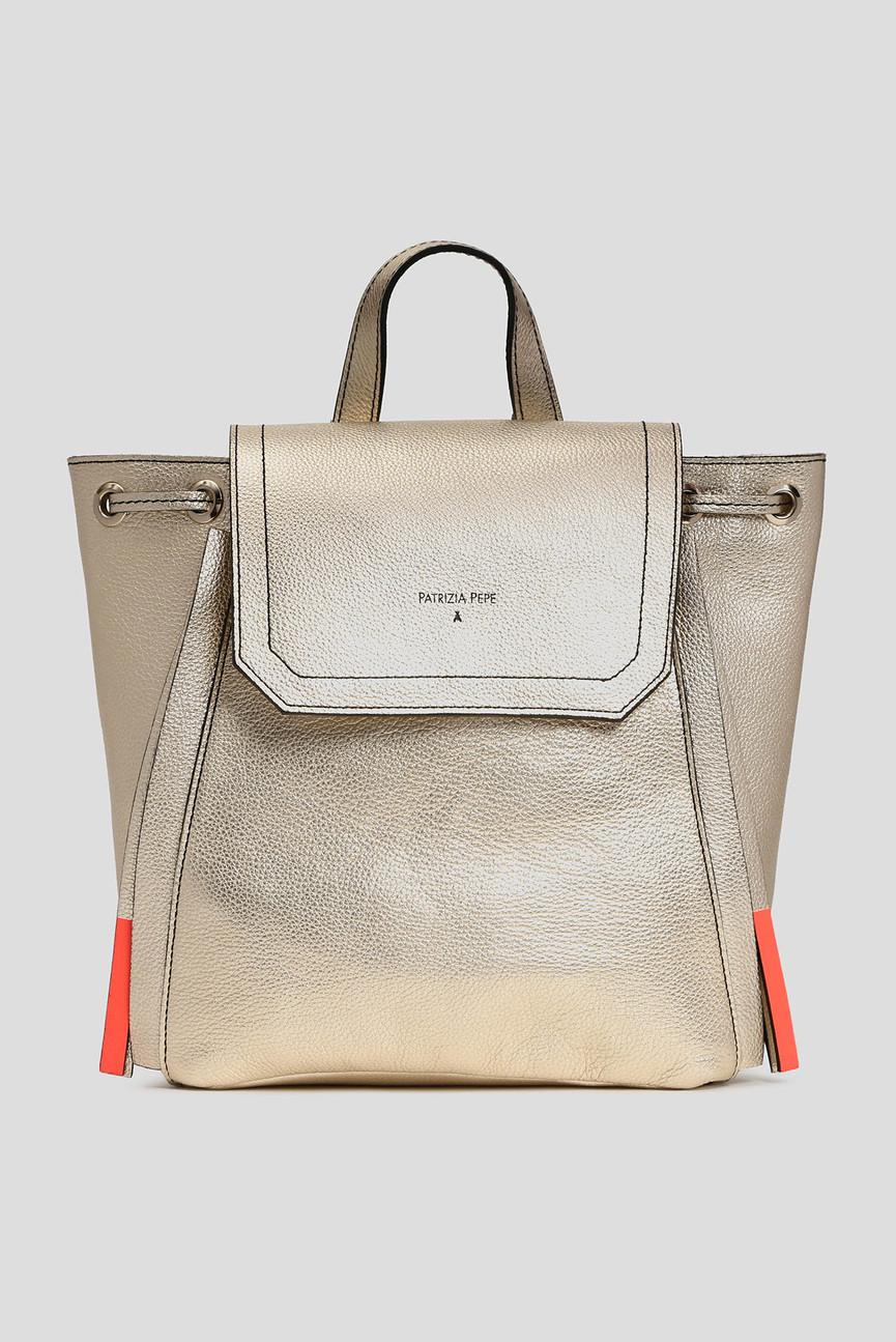 Женский золотистый кожаный рюкзак