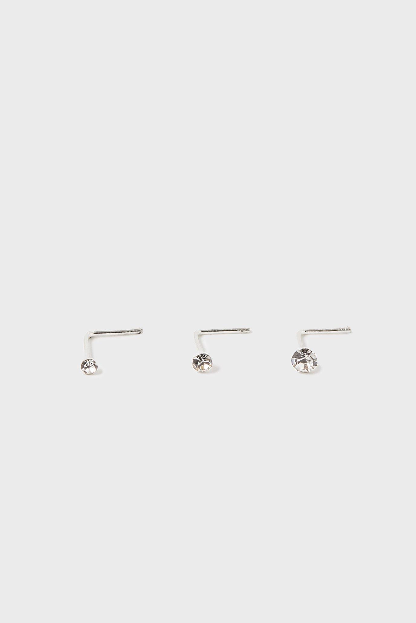 Женские серебряные серьги-пирсинг ( 3 шт) NOSE STUD SET 1