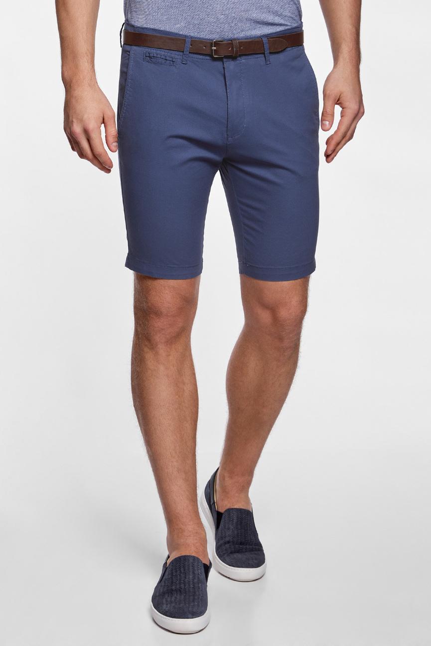 Мужские синие шорты с ремнем