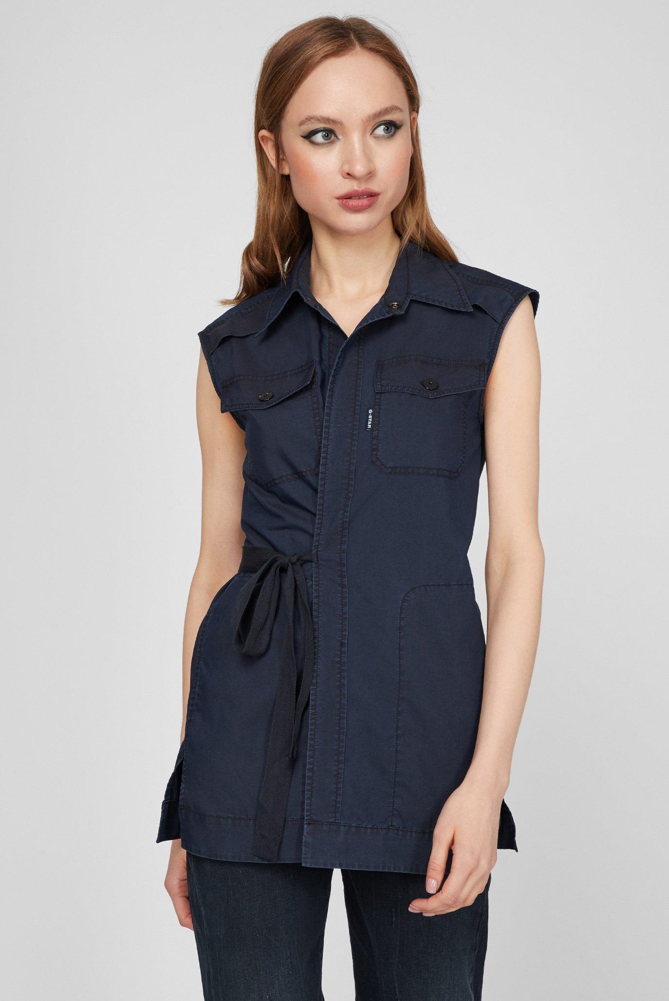Женская темно-синяя блуза 1
