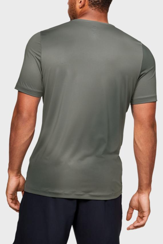 Мужская зеленая спортивная футболка UA HG Rush Fitted SS Printed