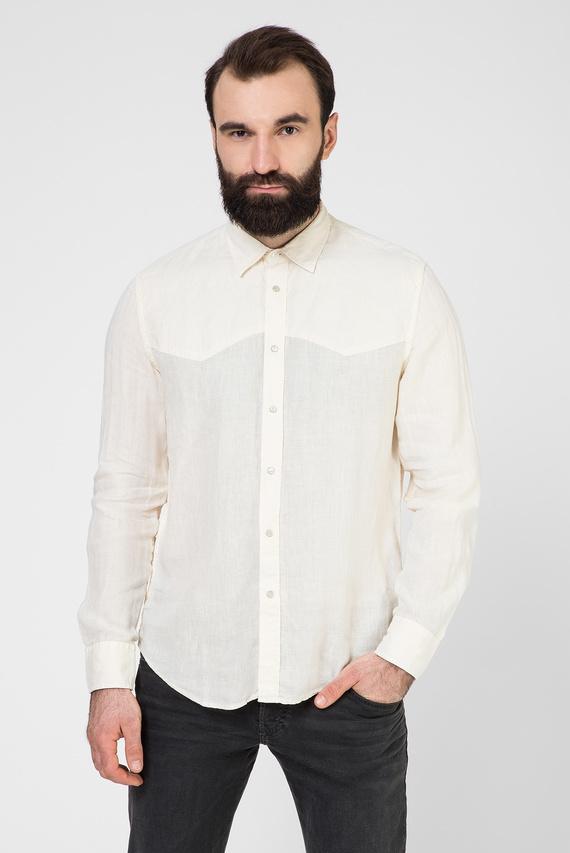 Мужская бежевая льняная рубашка S-PLAN-B