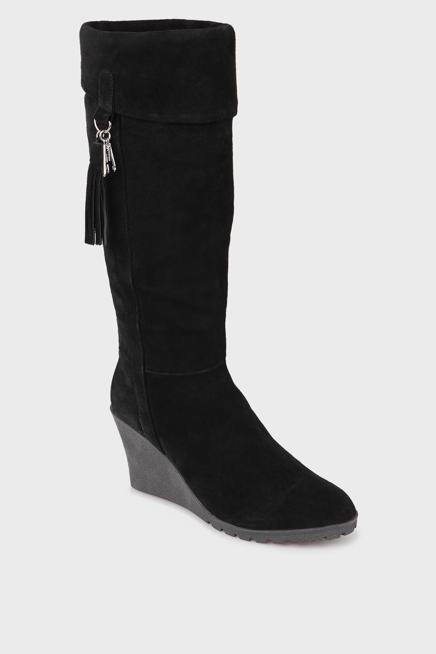 Женские черные замшевые сапоги