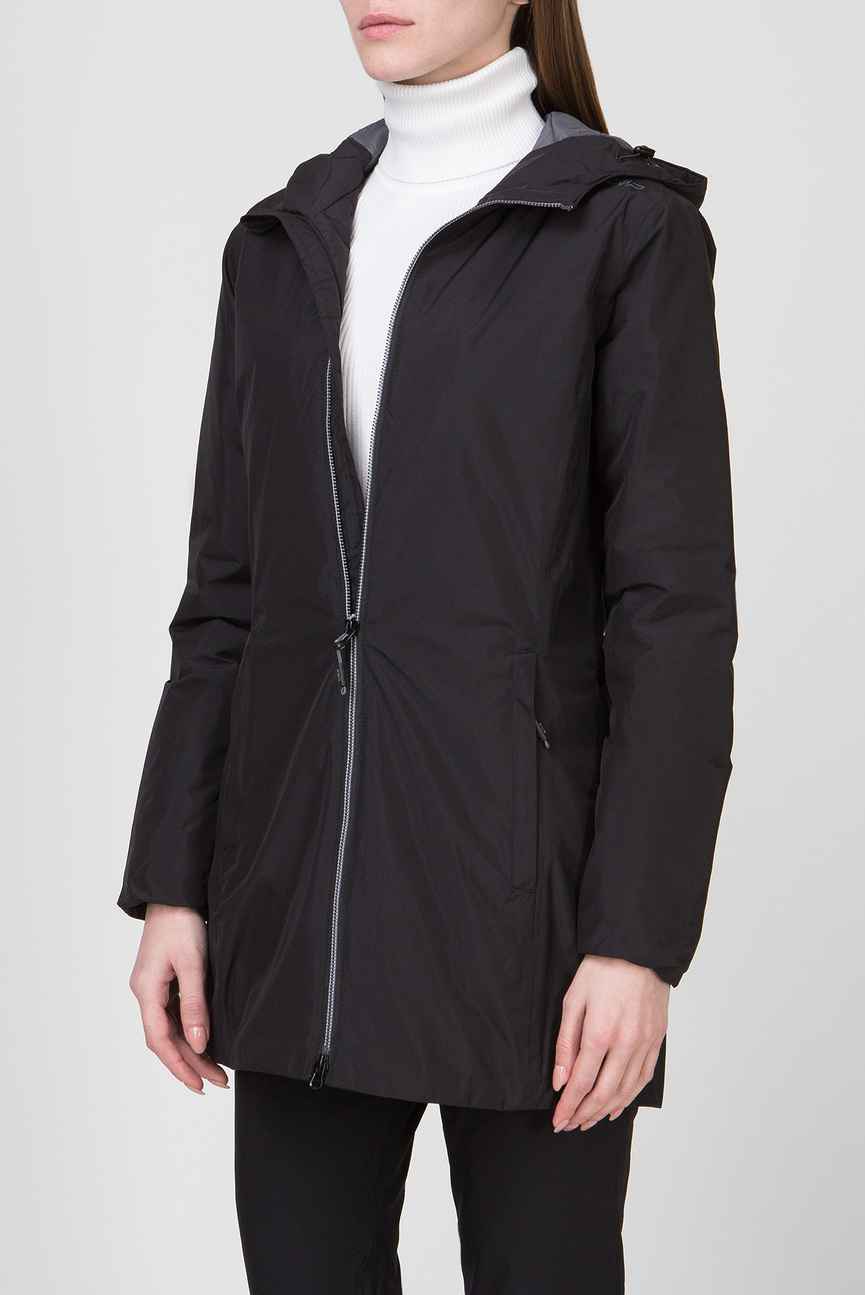 Женская черная удлиненная куртка