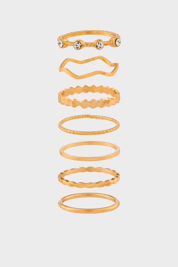 Набор женских золотистых колец GOLD METAL PACK (7 шт)