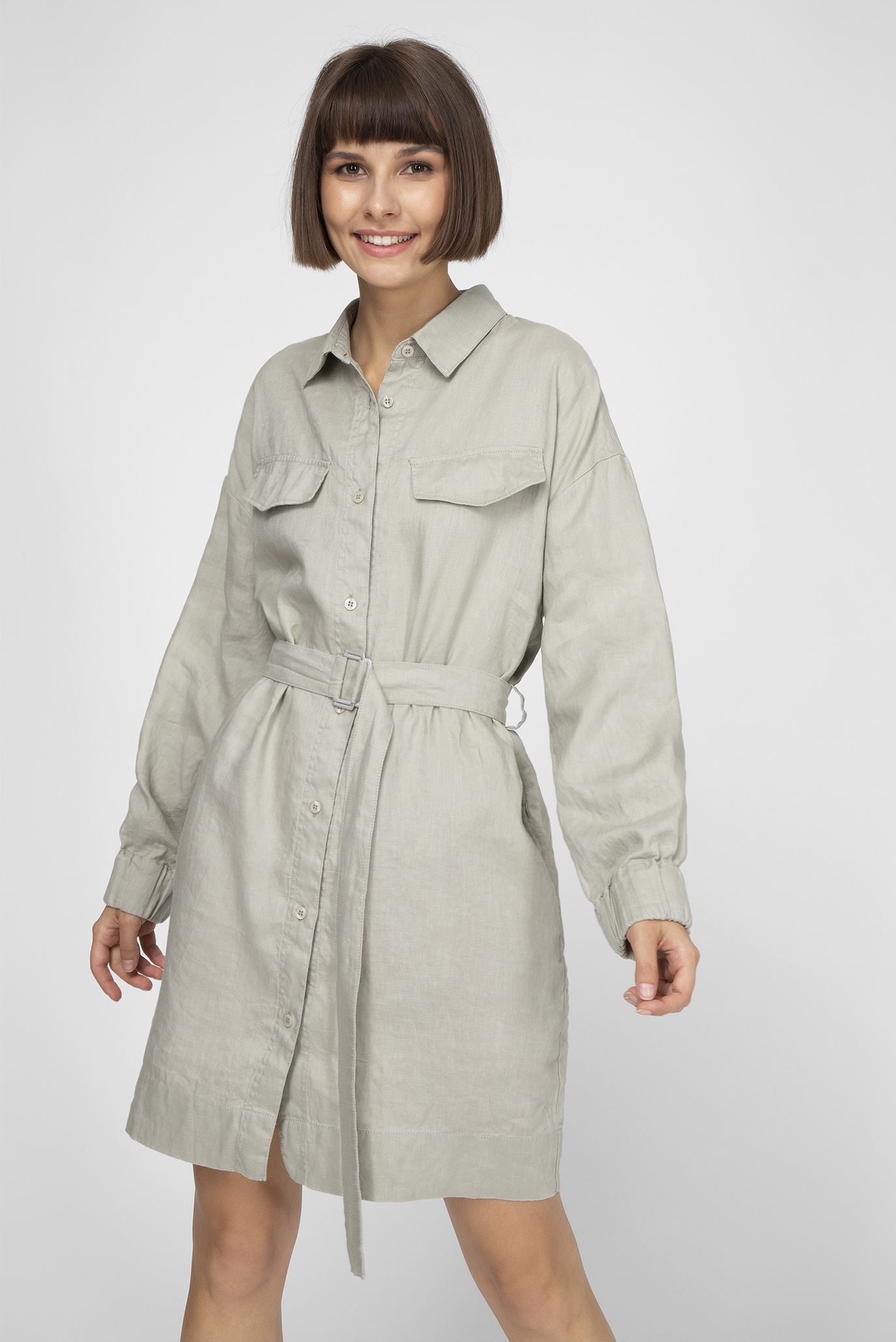 Жіноча сіра лляна сукня WWDRE 008 1
