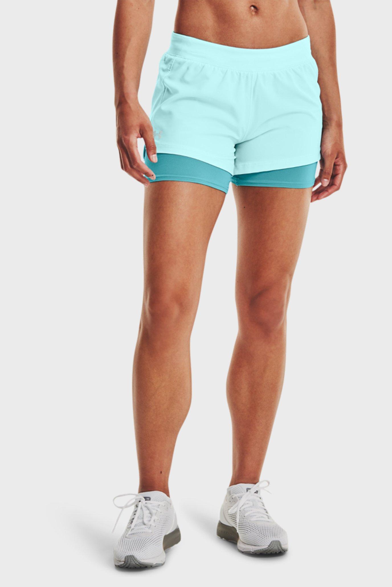 Женские бирюзовые шорты UA Iso-Chill Run 2N1 Short 1