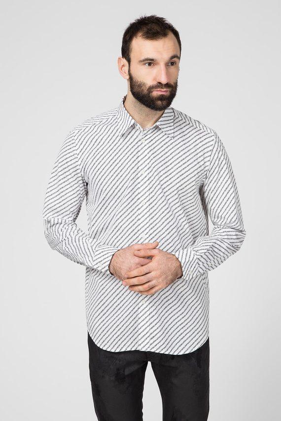 Мужская белая рубашка c принтом S-PENN-COPY SHIRT