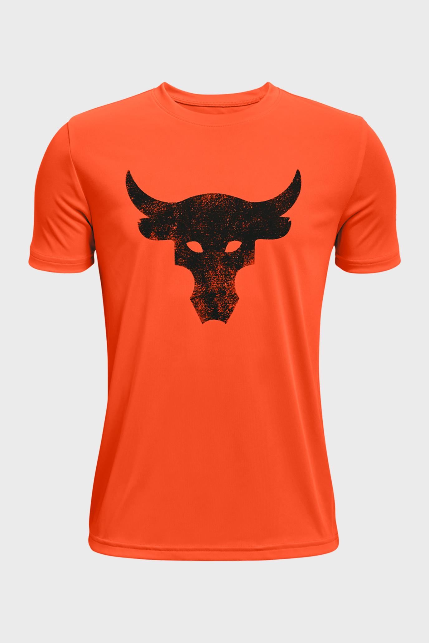 Детская оранжевая футболка UA Project Rock BrhmaBull SS 1