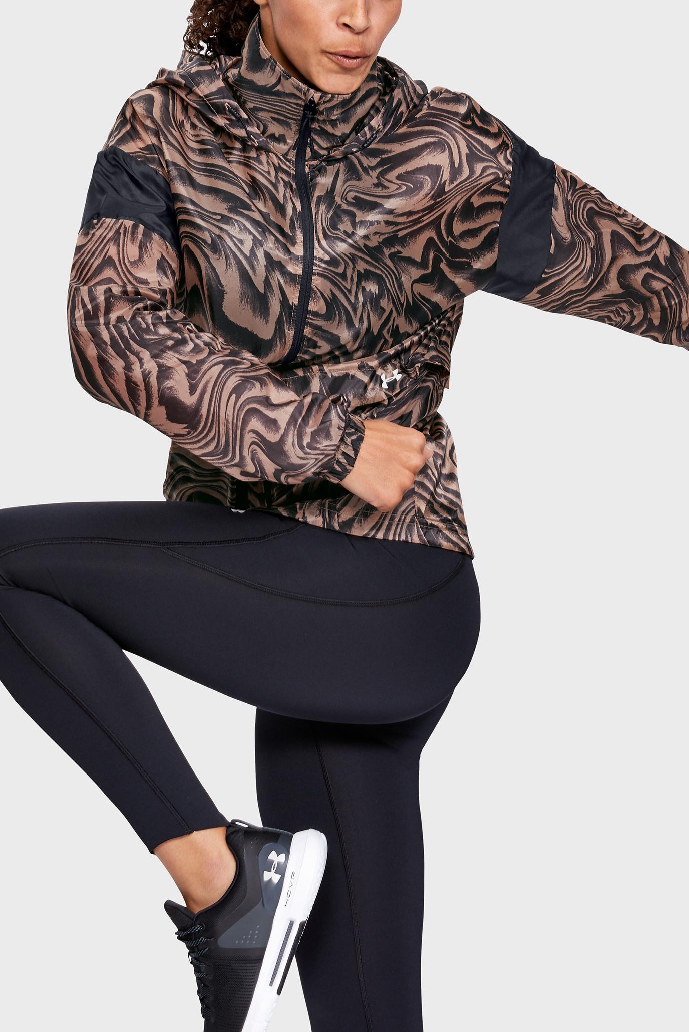 Женская коричневая ветровка с принтом Perpetual Storm FZ Print Under Armour