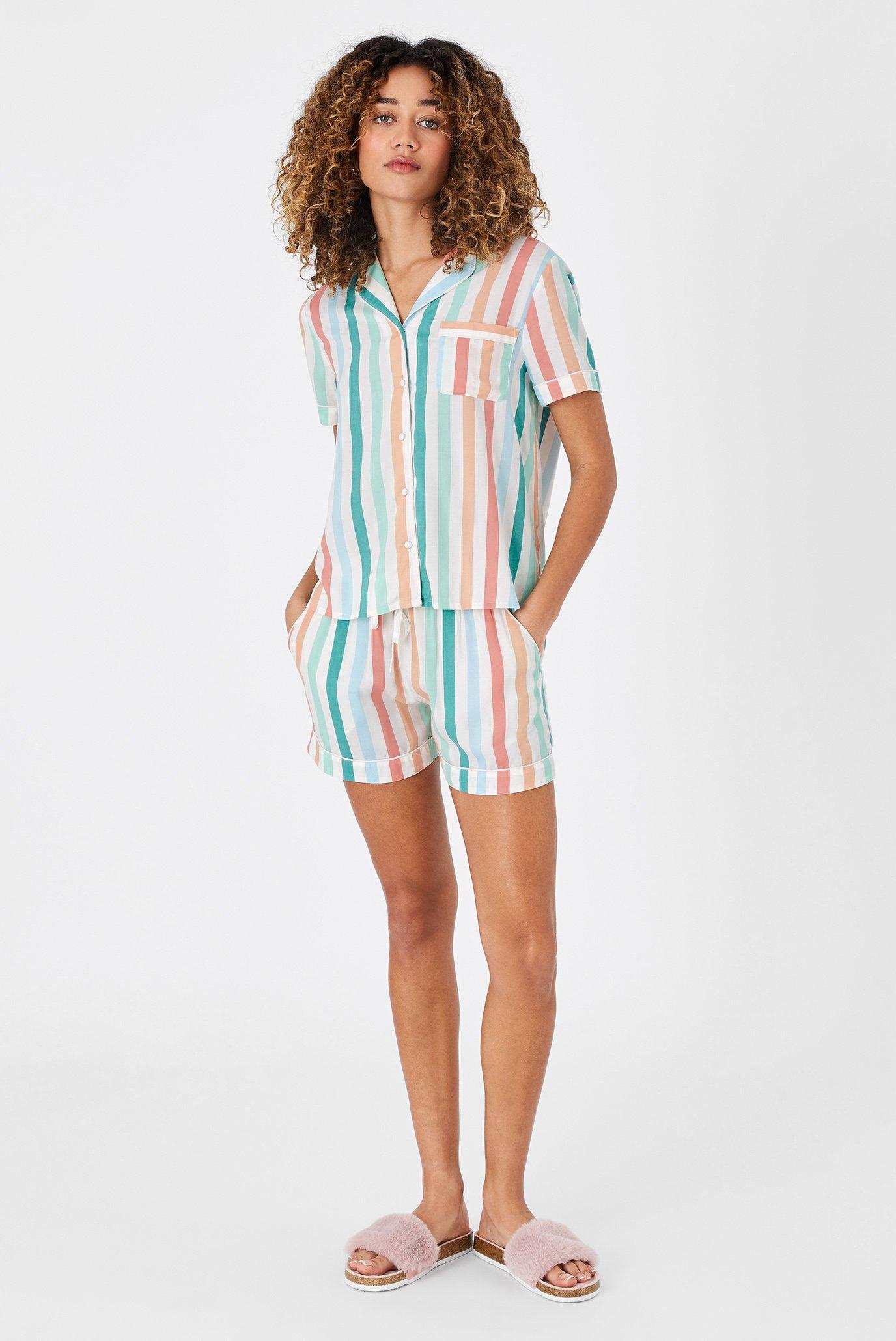 Женская пижама в полоску (рубашка, шорты) BUTTON DOWN PJ SET 1