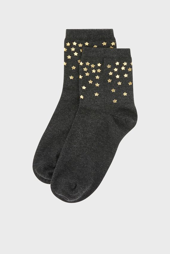 Женские темно-серые носки FOIL STAR CROPPED SO