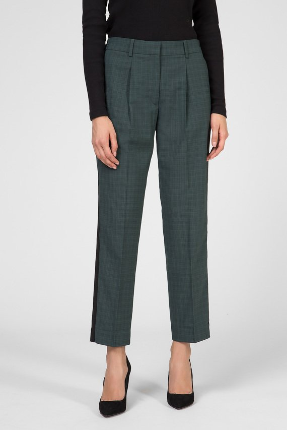 Женские зеленые брюки MULTI CHK ELASTIC CIGARETTE PANT