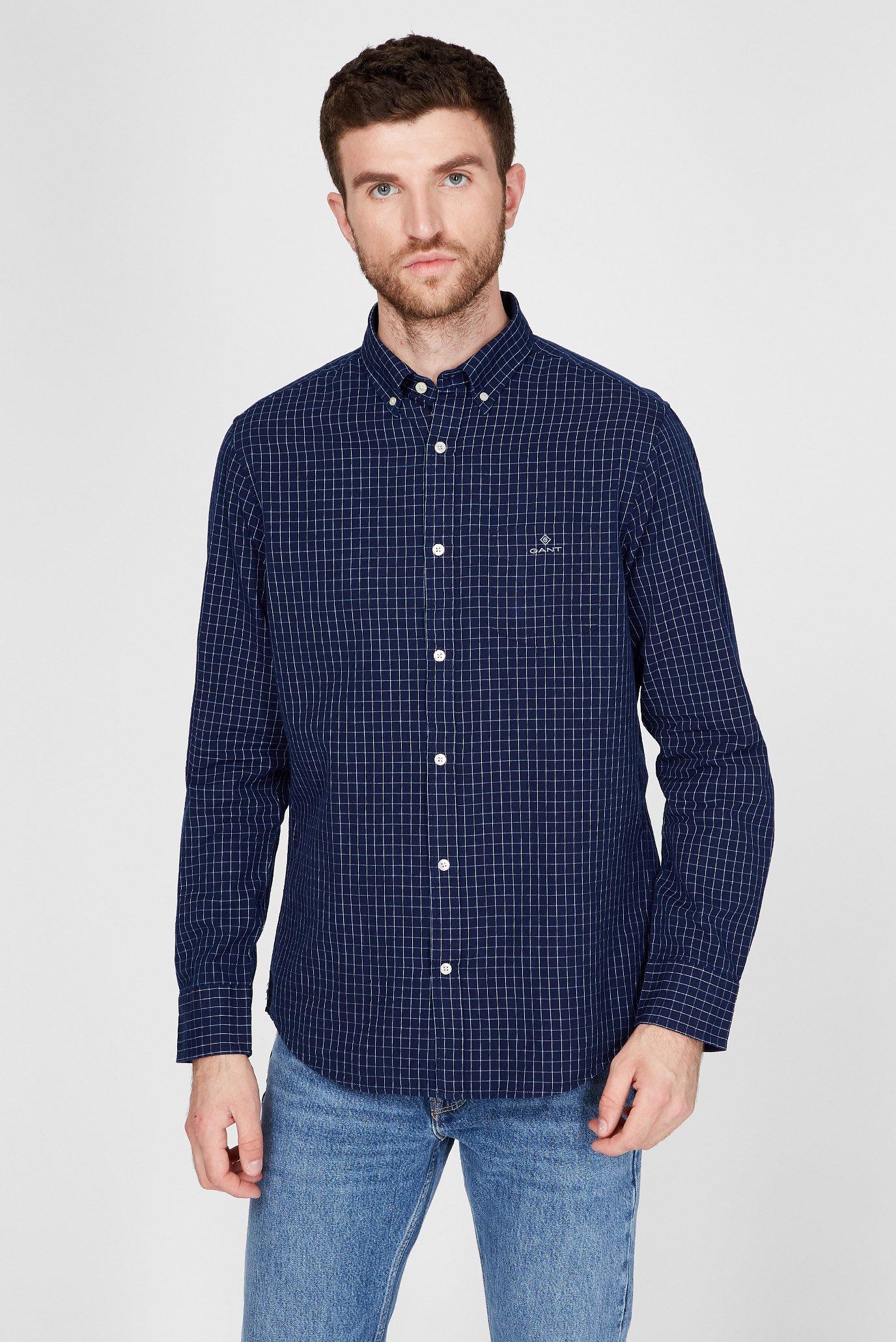 Мужская рубашка в клетку INDIGO WINDOW PANE 1