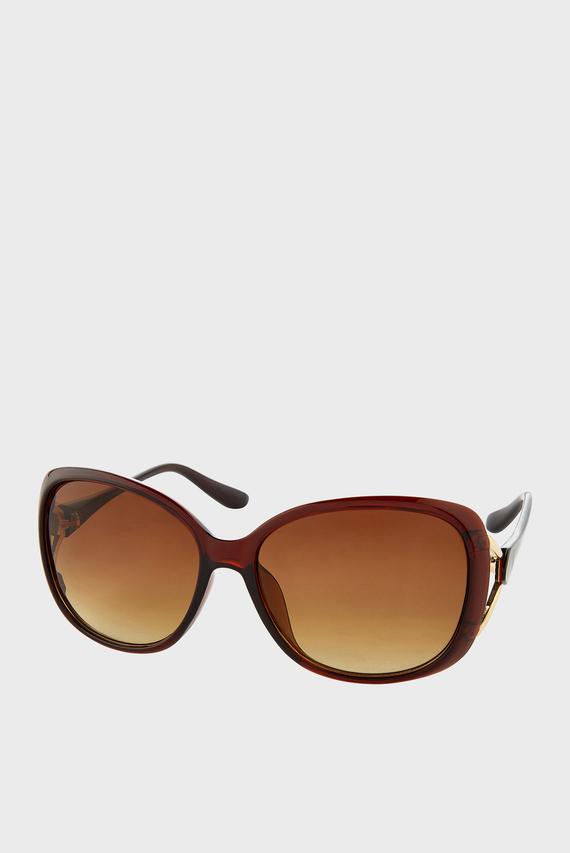 Женские коричневые очки RACHEL METAL DETAIL WRAP