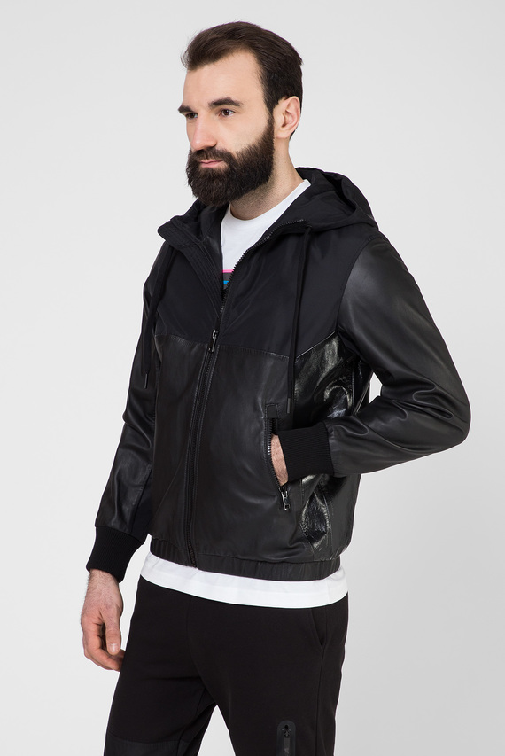 Мужская черная кожаная куртка L-CARRS