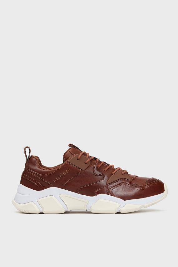 Мужские коричневые кожаные кроссовки CHUNKY LEATHER RUNNER