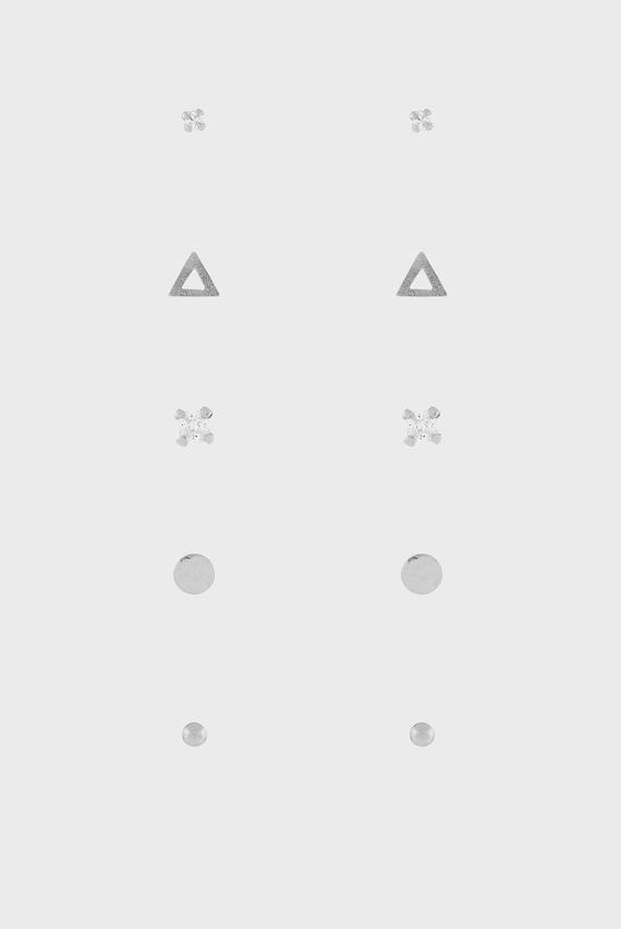 Женские серебряные серьги ST METAL SHAPES STUD SET (5 пар)