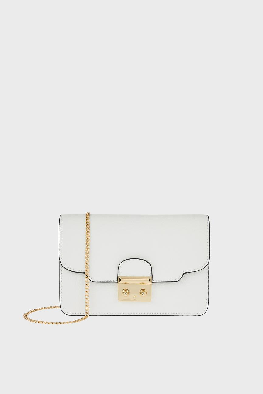 Женская белая сумка через плечо LOTTIE SCALLOP LOCK