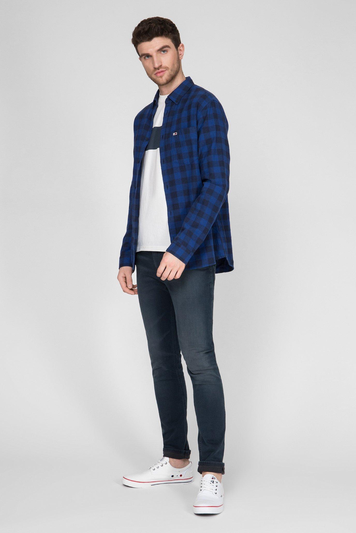 Мужская синяя рубашка в клетку TJM SUSTAINABLE Tommy Hilfiger