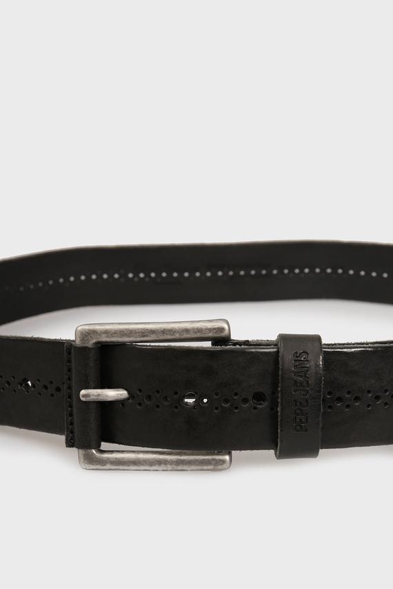 Мужской черный кожаный ремень HADSON
