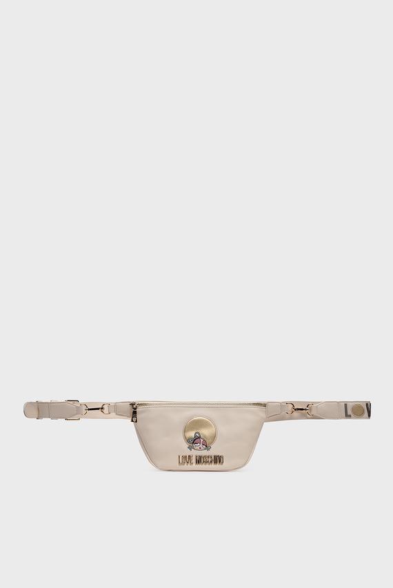 Женская бежевая поясная сумка