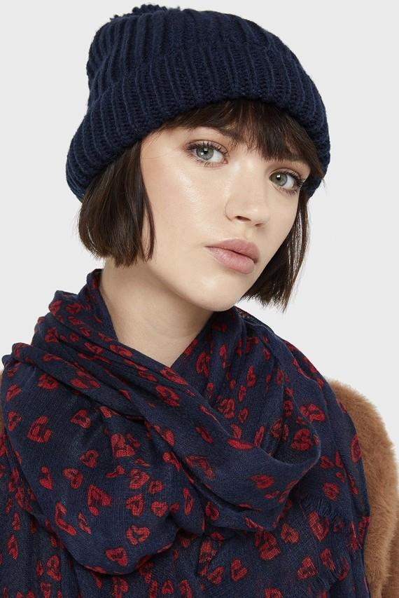 Женская синяя шапка OPP POM BEANIE
