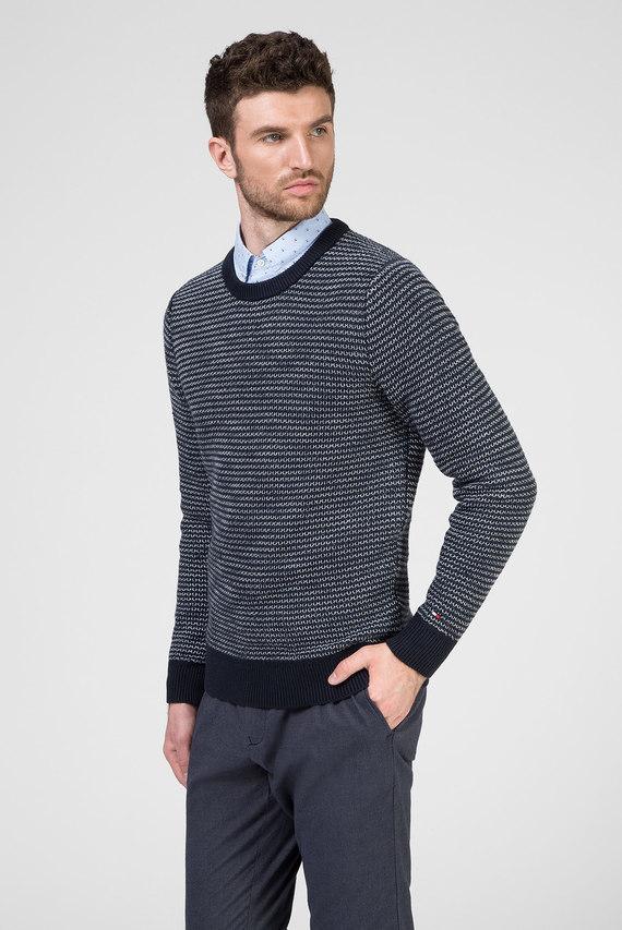 Мужской синий свитер в полоску HONEYCOMB SLUB