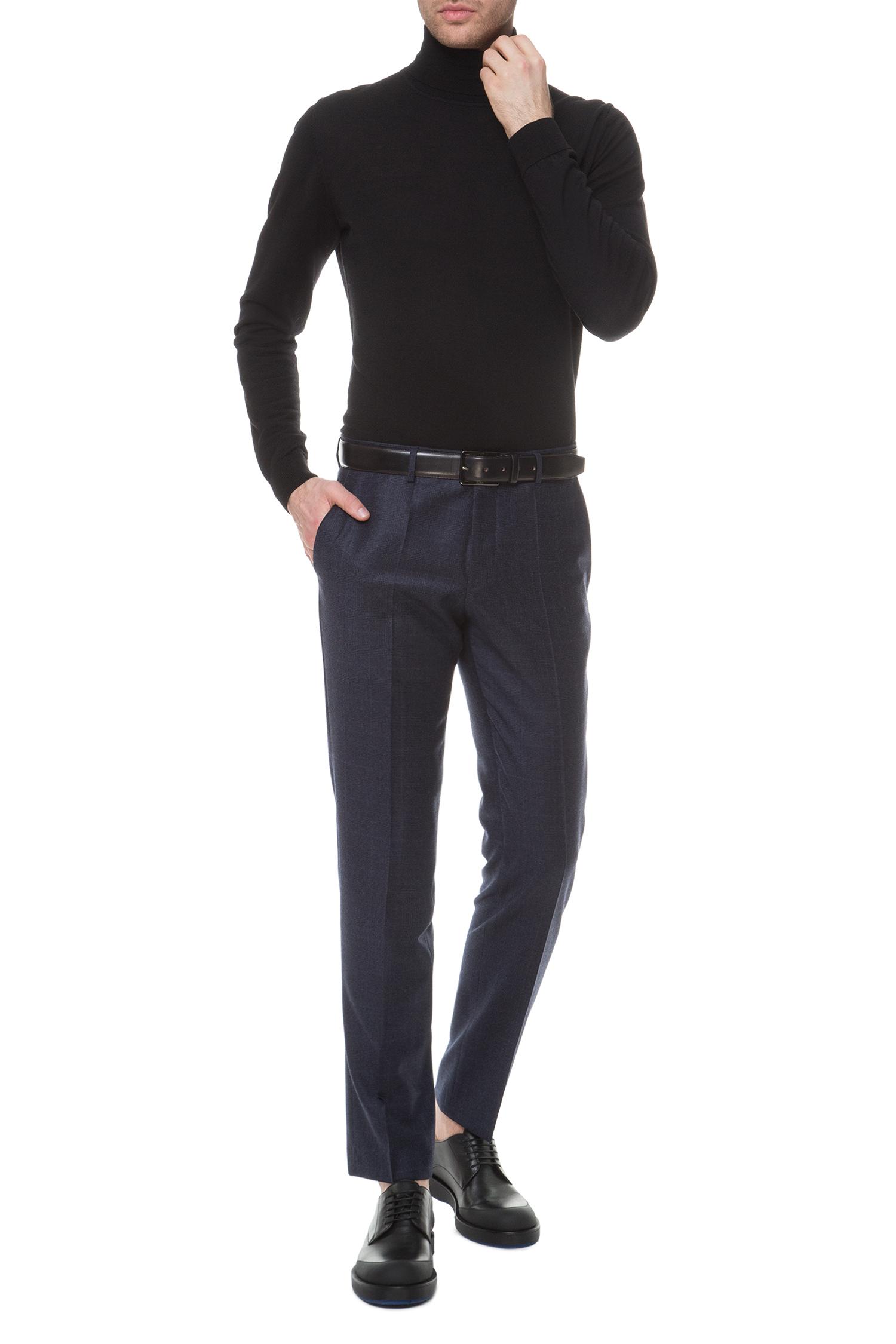 Мужские темно-синие шерстяные брюки BOSS