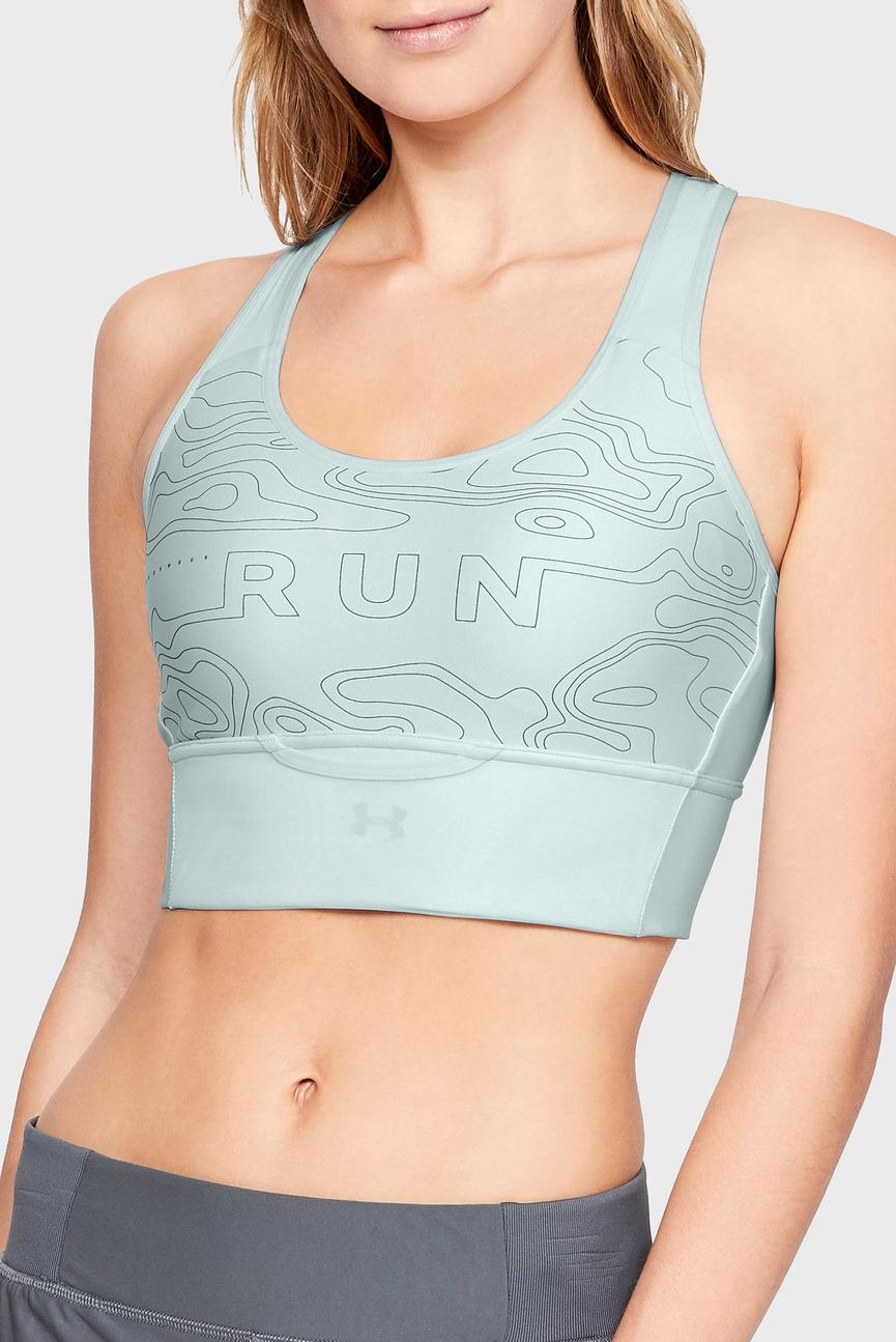 Женское голубое спортивное бра Armour Mid Crossback Clutch Graphic Bra