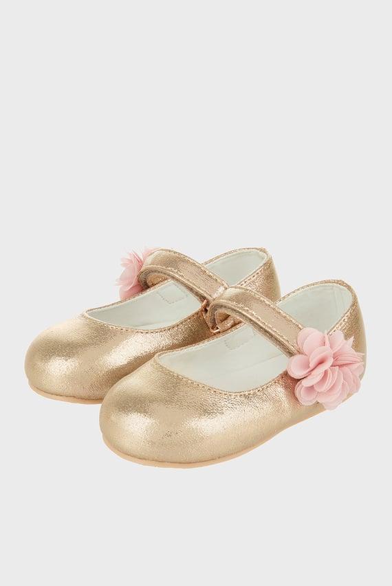 Детские золотистые балетки Baby Ariel Shimmer Corsage Strap Walker
