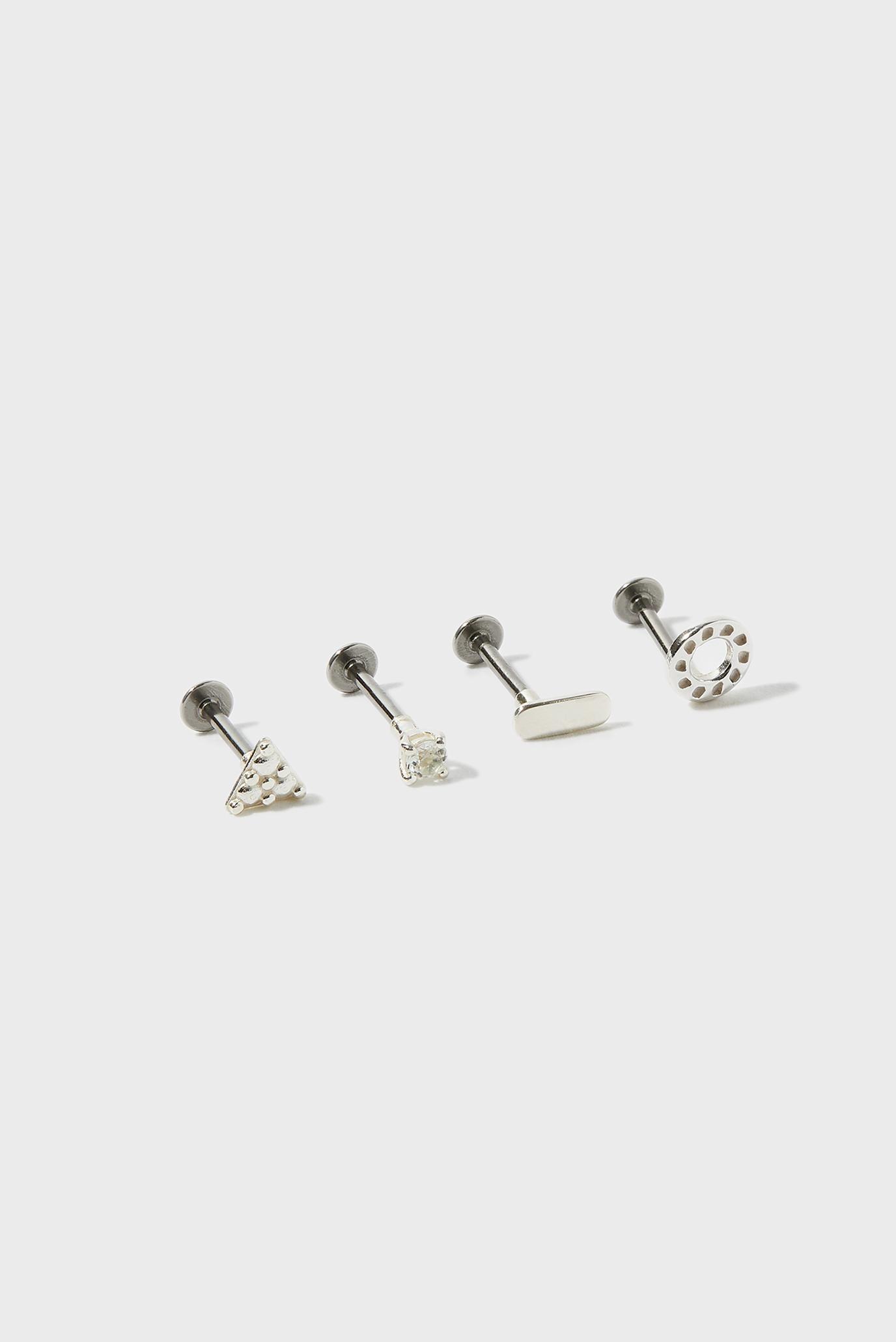 Женские серебряные серьги-пирсинг (4 шт) ST CURATED EAR PACK 1