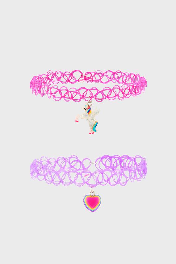 Детские розовые чокеры UNICORN CHOKER (2 шт)