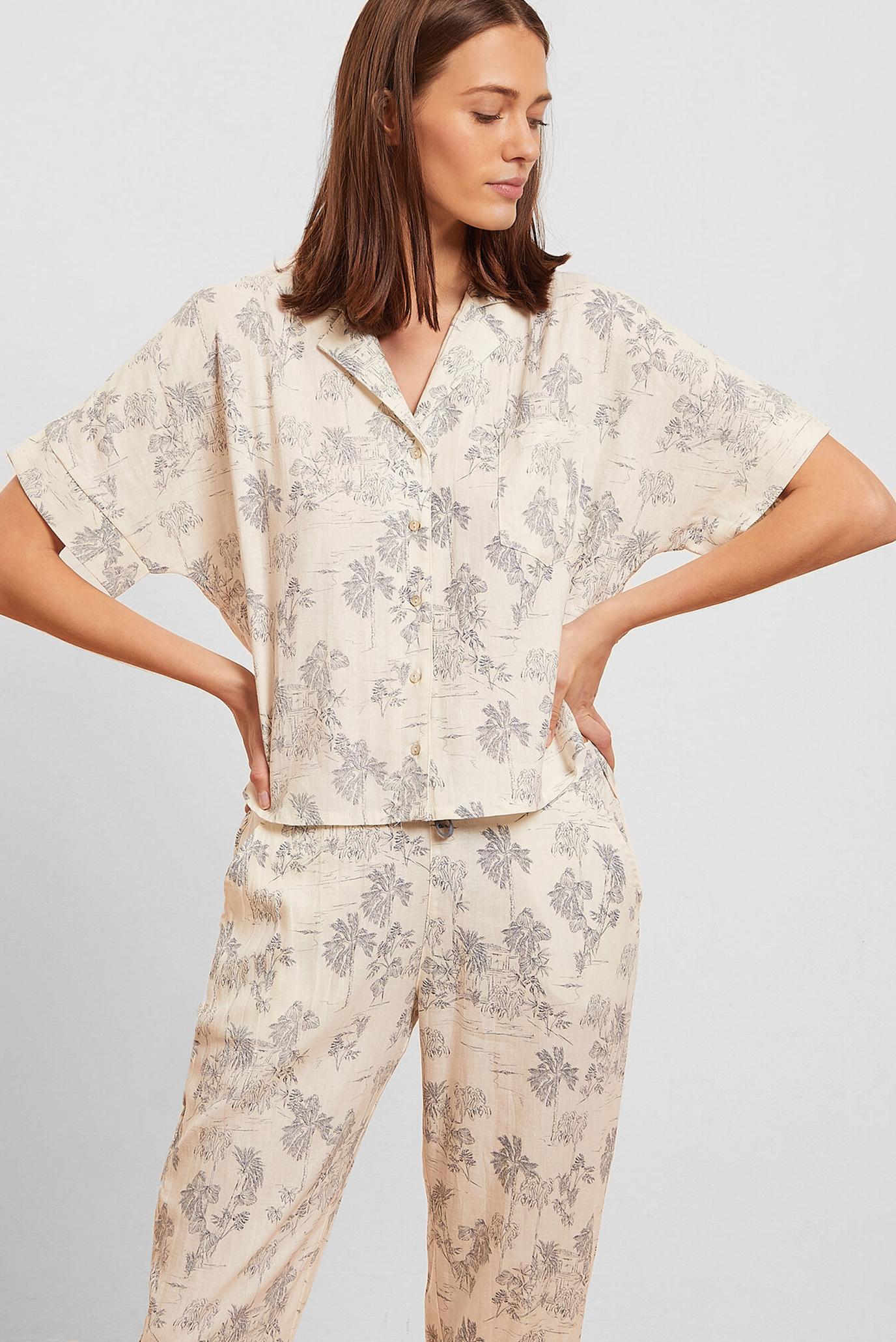 Женская белая льняная рубашка ALLY 1