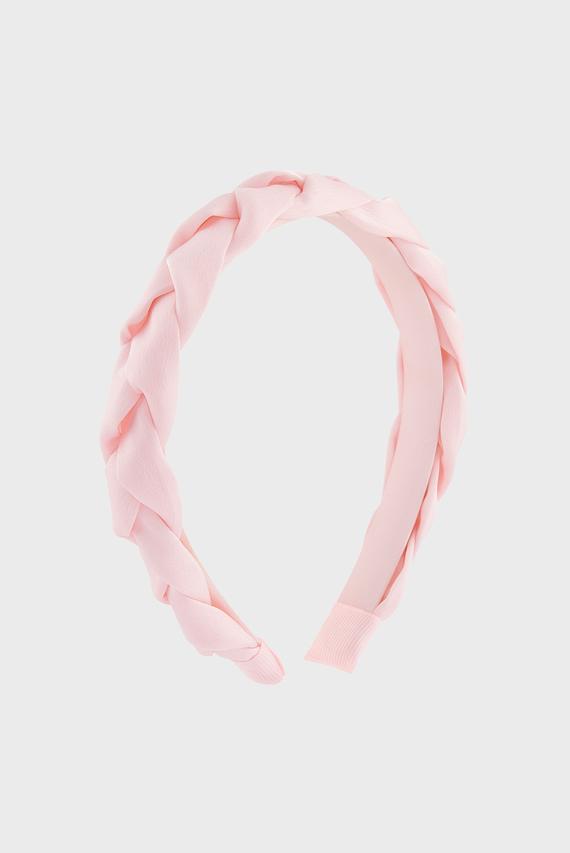 Детский розовый обруч SATIN PLAITED ALICE
