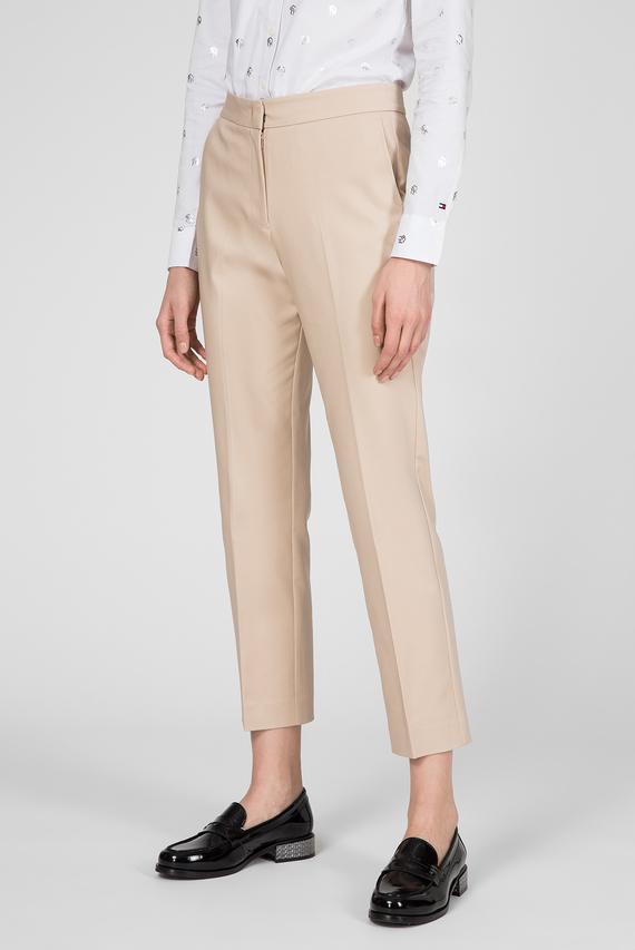Женские бежевые брюки SLUB COTTON SLIM