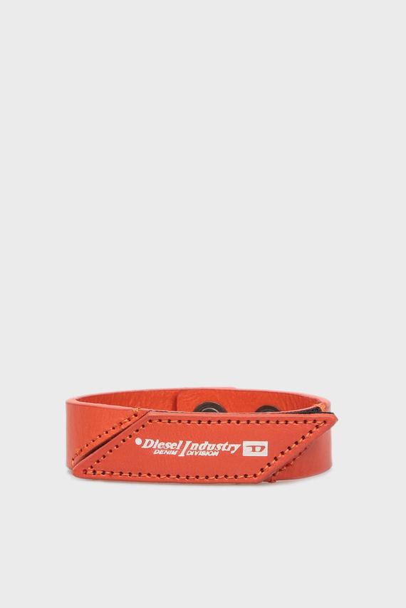 Мужской оранжевый кожаный браслет A-PATCH