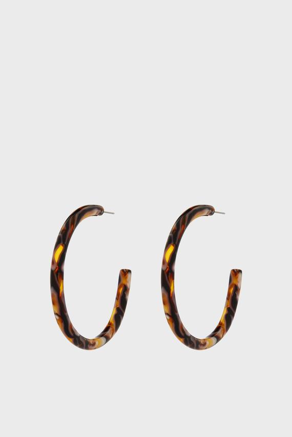 Женские коричневые серьги LARGE MOTTLED RESIN