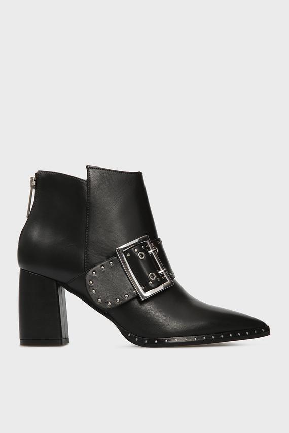 Женские черные кожаные ботильоны RIGA