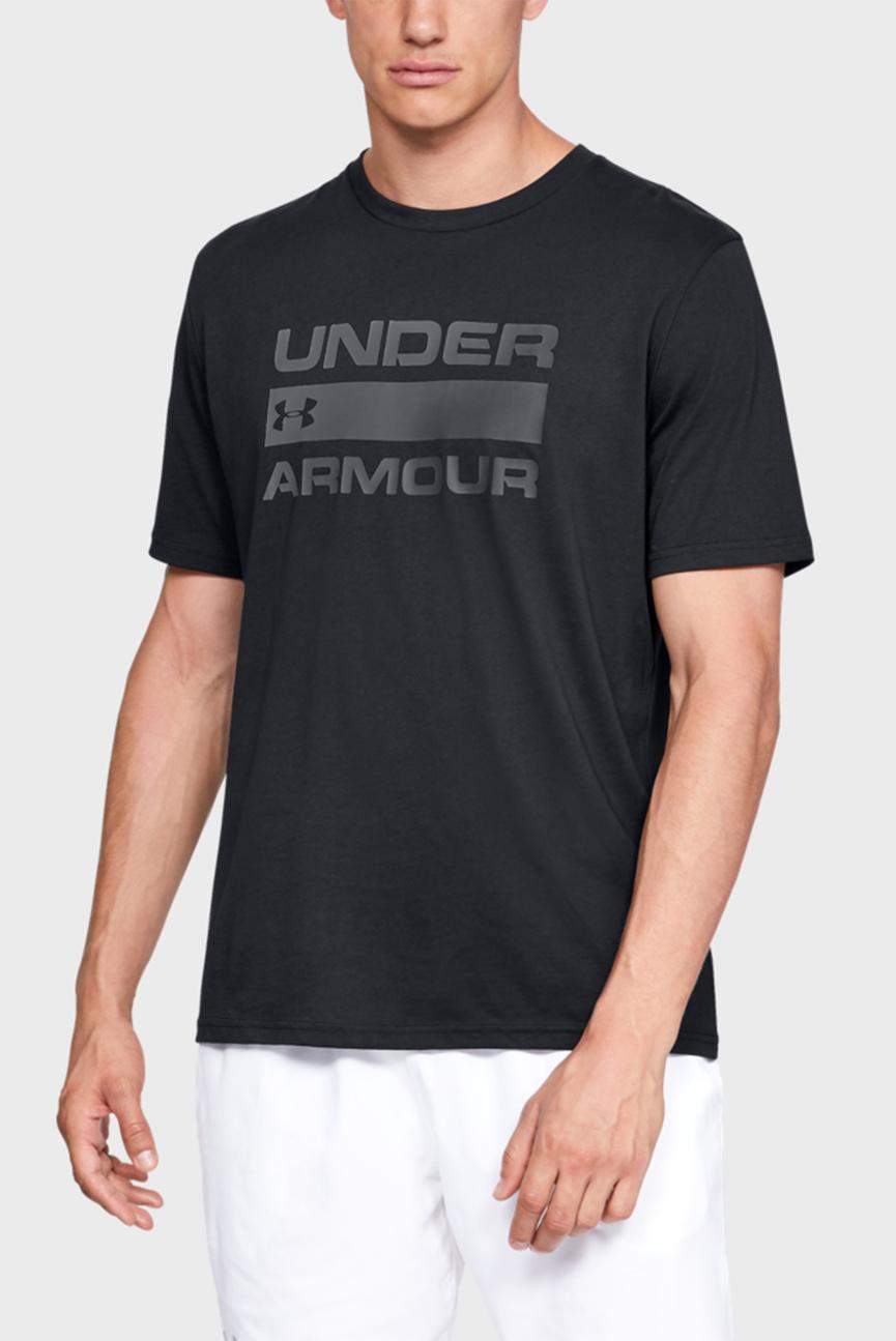 Мужская черная футболка UA TEAM ISSUE WORDMARK SS