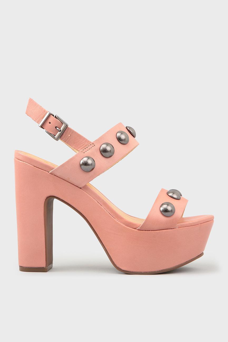 Женские розовые кожаные босоножки