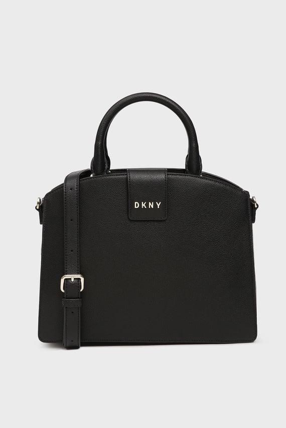 Женская черная кожаная сумка на плечо CLARA