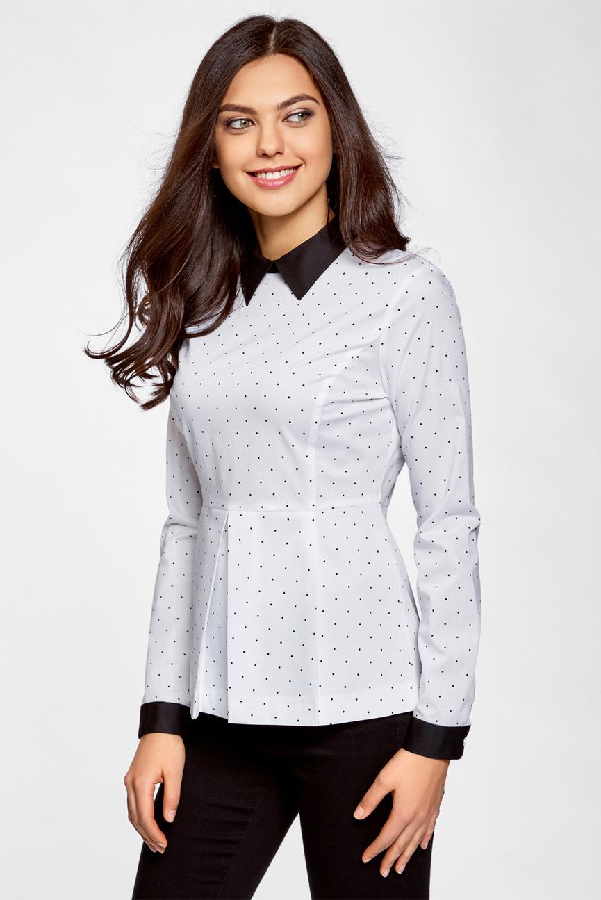 Женская белая блуза с баской