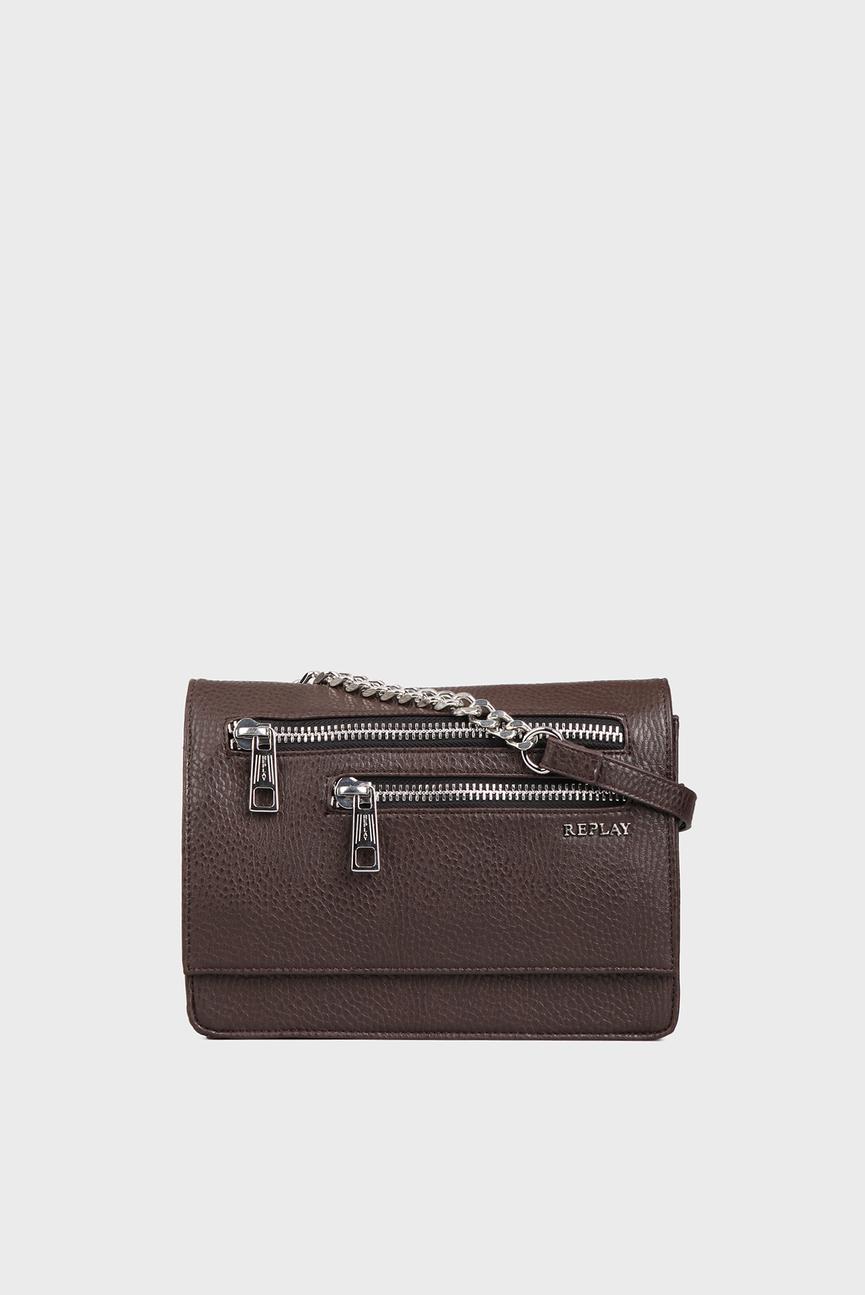 Женская коричневая сумка через плечо