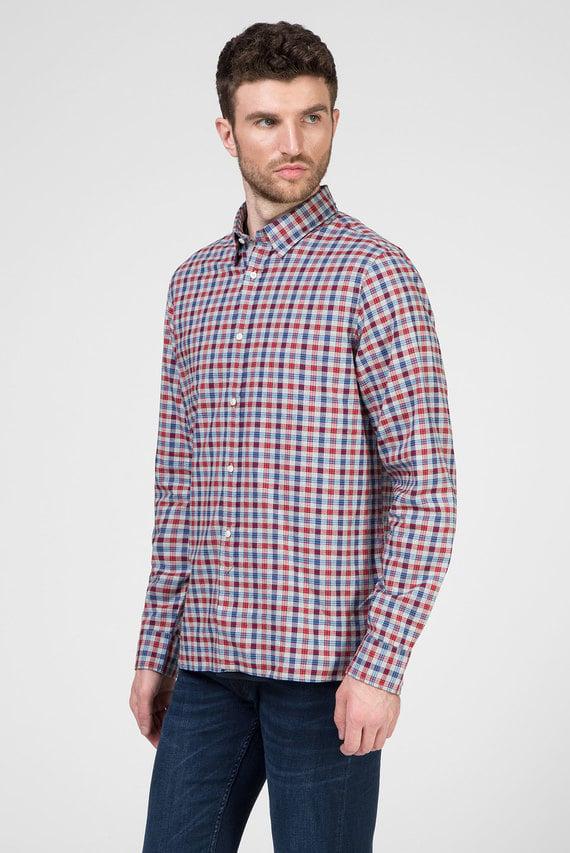 Мужская рубашка в клетку SLIM MELANGE POP CHECK