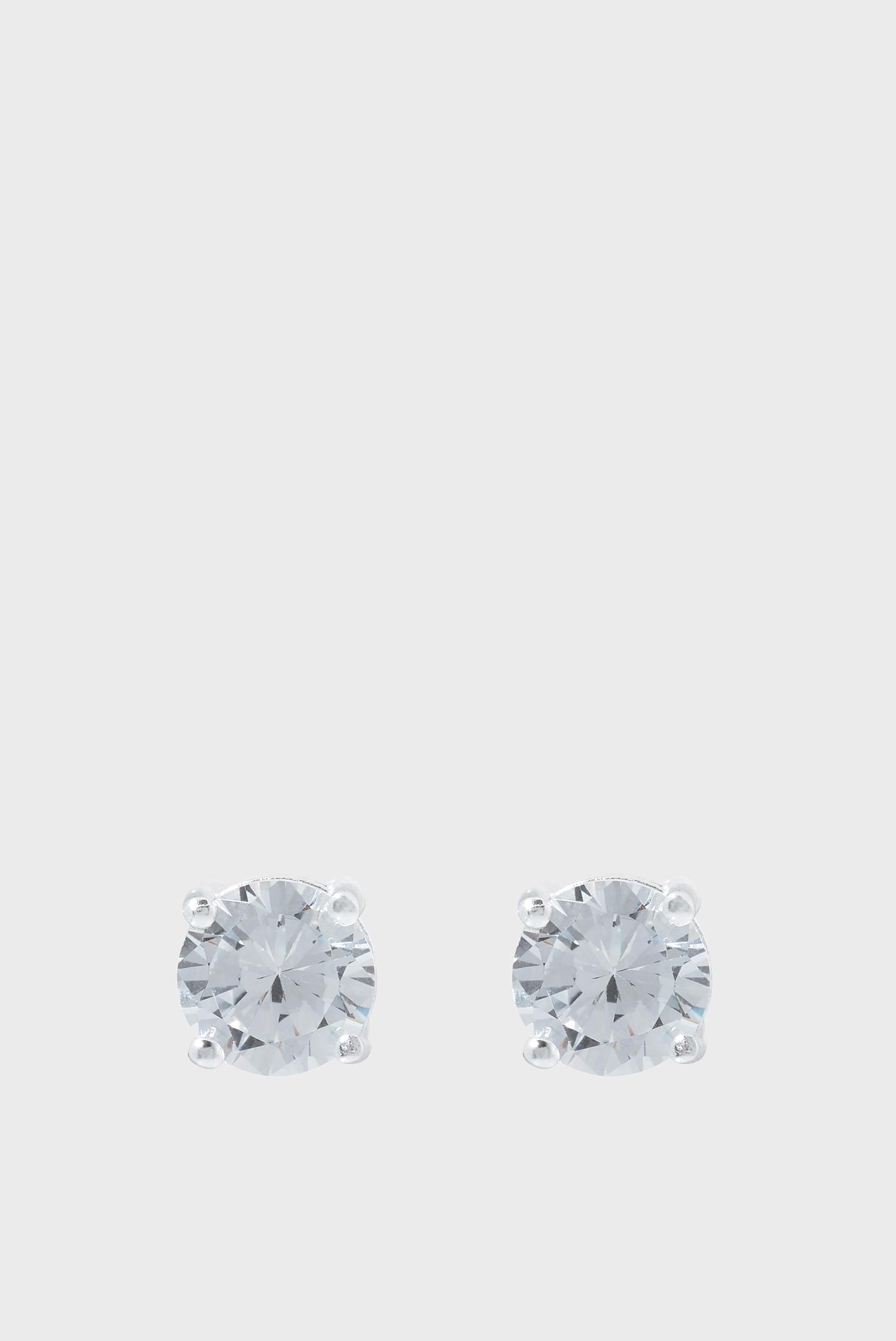 Жіночі срібні сережки ST CZ 3 CT ROUND CUT 1