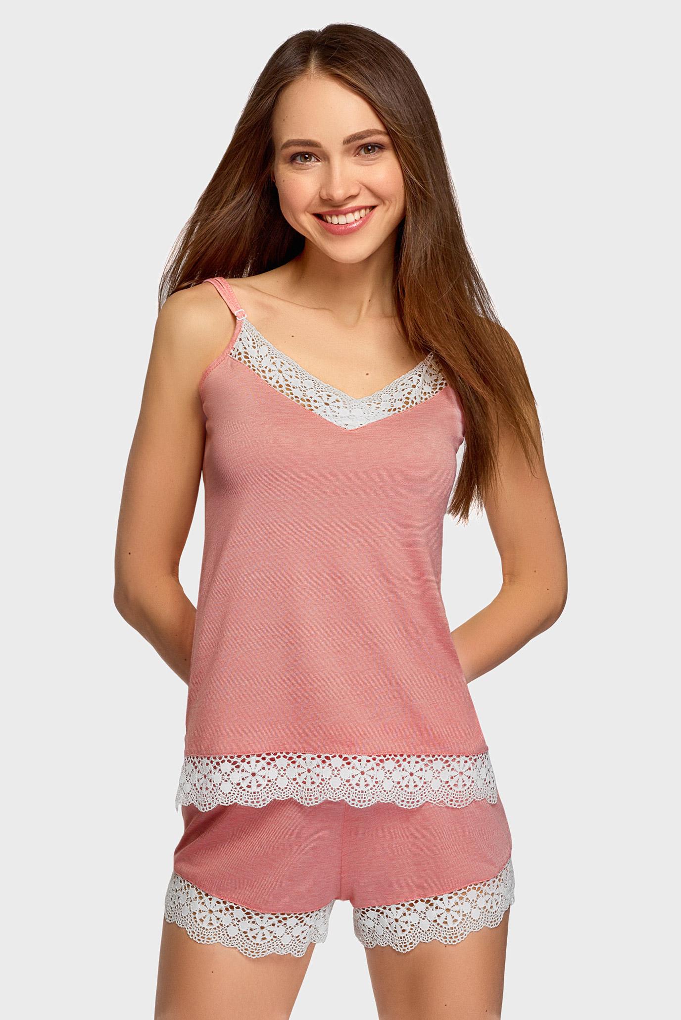 Женская розовая пижама (майка, шорти) 1